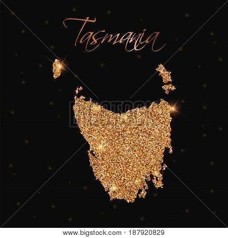 Tasmania Map Filled With Golden Glitter. Luxurious Design Element, Vector Illustration.