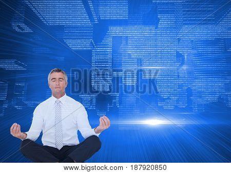 Digital composite of up side down technological city. men meditating