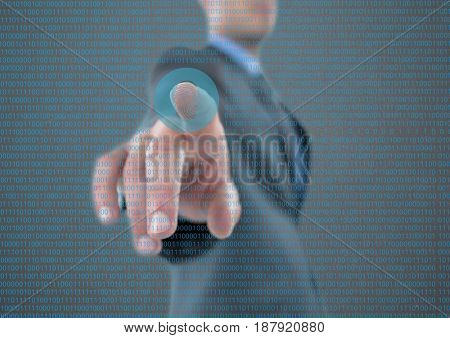 Digital composite of fingerprint scan in the middle of the image, with binary code
