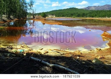 The river Sak-Yelga near to Karabash city Chelyabinsk region Russia. One of the most polluted place in the world.