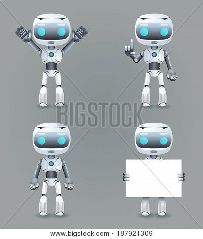 Robot different poses innovation technology science future fiction cute little 3d Icons set design vector illustration