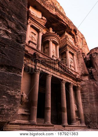 A late afternoon view of the Treasury building at Petra in Jordan.