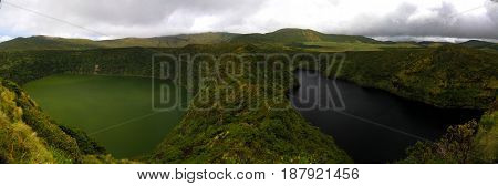 Aerial view to Comprida and Negra lakes Flores island in Azores. Portugal