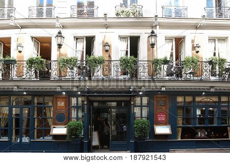 PARIS, FRANCE - May 16, 2017: historical Cafe Procope. It is the oldest restaurant of Paris in continuous operation - it was opened in 1686 by Sicilian Francesco Procopio.
