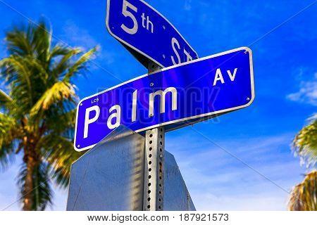 Gasparilla Island, FL, USA - 05/15/2016: Palm Ave in Boca Grande on Gasparilla Island Florida