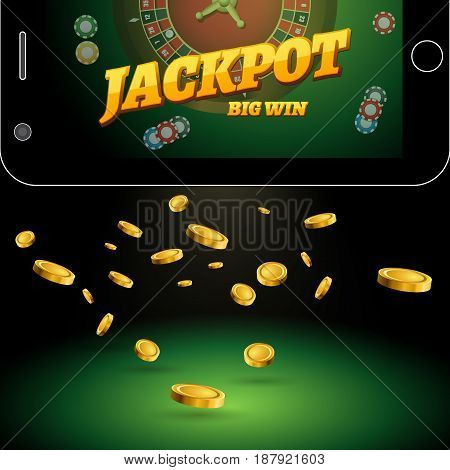 Casino background with mobile phone roulette chips and falling golden coins. Vector casino banner with an inscription the jackpot
