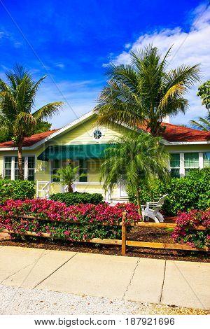 Gasparilla Island, FL, USA - 05/15/2016: Chalet apartments at the Gasparilla Inn on Palm Street on Gasparilla Island Florida