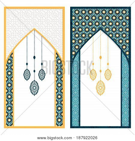 vector set with two arabic cards with window figure feather decoration and arabic design