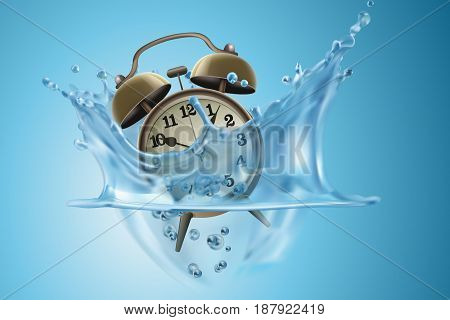 Time Management Concept : Waste of time - Retro alarm clock in blue water splash. (3D Illustration)