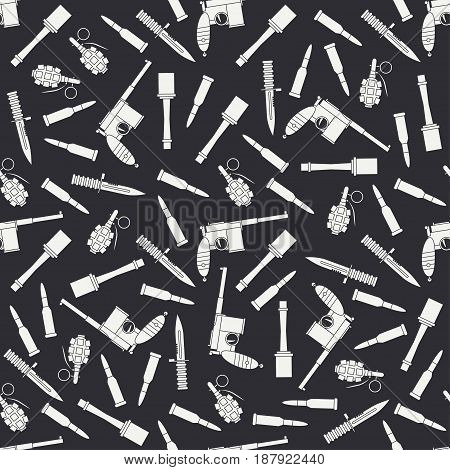 Seamless flat pattern with military equipment icons. Vector illustration. Elements for design. Ww2 army weapons collection. Graphic texture for design , wallpaper. Silhouette war pattern.