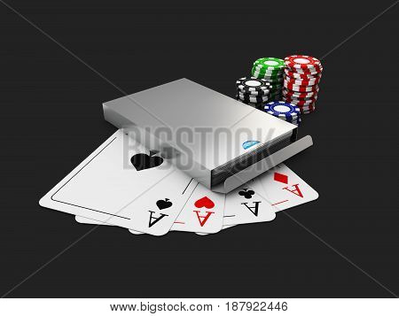 Gray Play Card Box, Chips And Cards, On Black Background