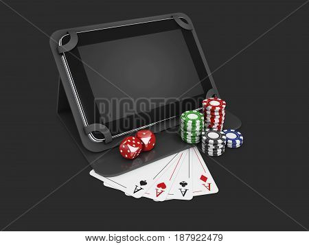 Online Mobile Casino.tablet With Chips, Cards And Coins. Isolated Black, 3D Illustration