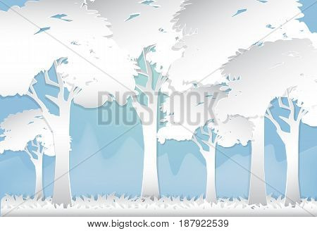 Forest and hill abstract nature background paper art style illustration