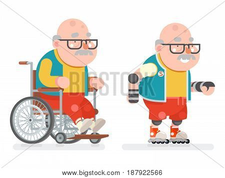 Wheelchair Grandfather Active Lifestyle Roller Skate Adult Healthy Sports Old Age Man Character Cartoon Flat Design Vector illustration