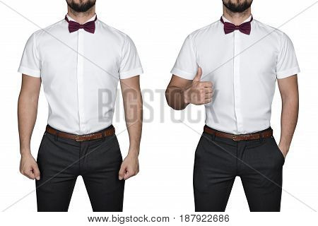 Man in shirt, isolated on white background