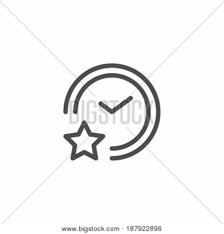 Sleeping time line icon isolated on white. Vector illustration