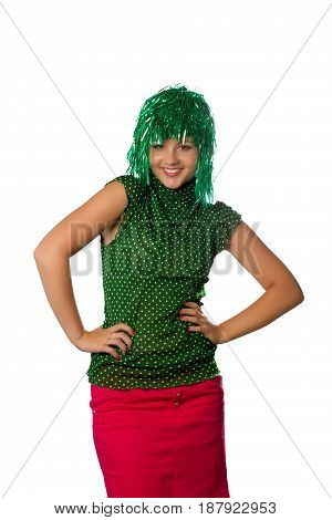 Beautiful young girl with green wig on white background