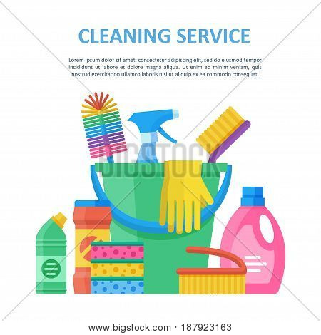 Cleaning service bright objects, plastic bucket full of janitor helpful elements, complete professional set for home and office keeping. Vector flat style illustration isolated on white background