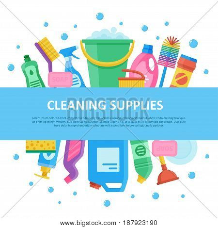 Cleaning janitorial supply product set with central lettering, professional sanitizing equipment for home and office. Vector flat style illustration isolated on white background with soap bubbles