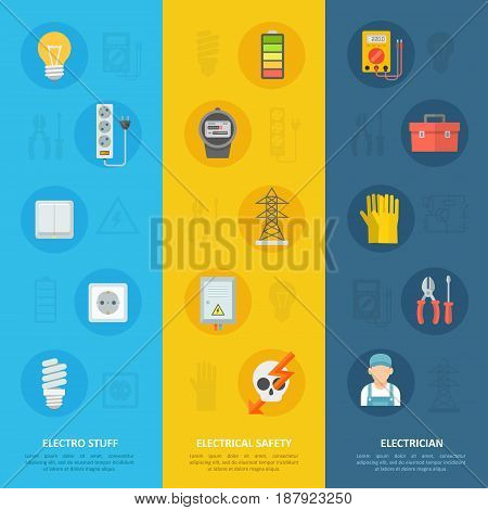 Electricity safety and electrician icon set, educational service poster for understanding the basics of voltage, current and for classes providing professional training. Vector flat style illustration