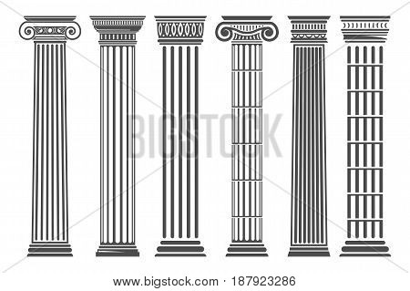 Greek and Roman columns set, temple building element, elegant architecture and classical decoration. Vector flat style illustration isolated on white background