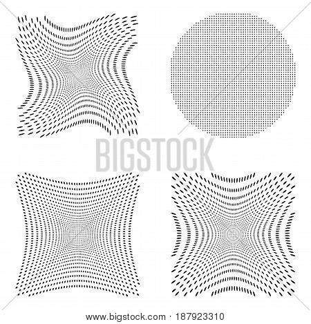 Halftone background vector set. Black and white illustration with polka dot