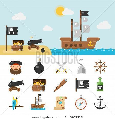 Pirate icons, set of objects, avatar, canon, sword, golden coins. Collection for marine adventure game or party. Vector flat style illustration isolated on white background