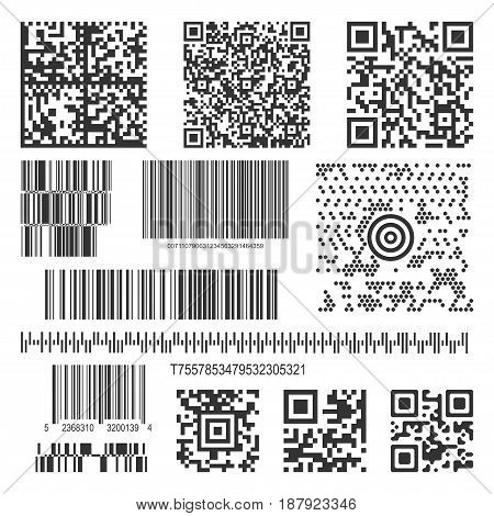 Black matrix barcode for information, product tracking, item identification and marketing. Vector flat style illustration isolated on white background