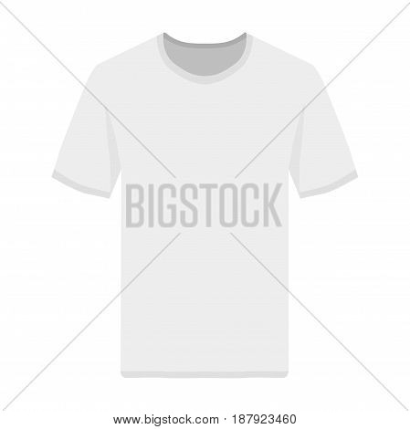 White t-shirt front view template. Flat illustration