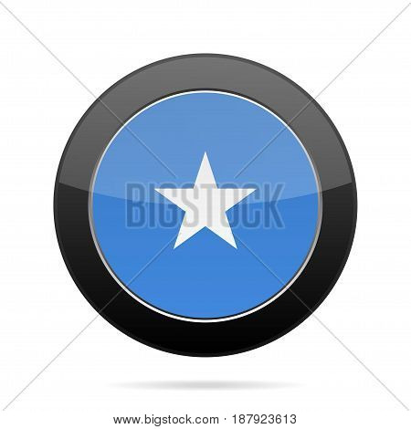 National flag of Somalia. Shiny black round button with shadow.