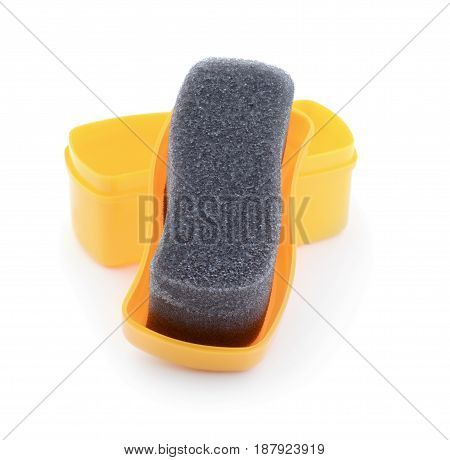 Yellow sponge for shoes isolated on white