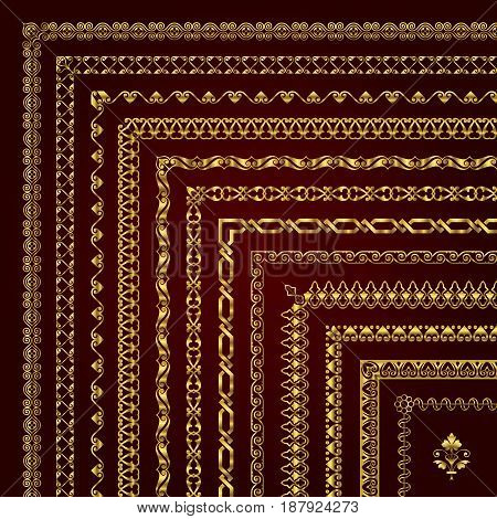 Vector set of decorative corner borders and frames in gold