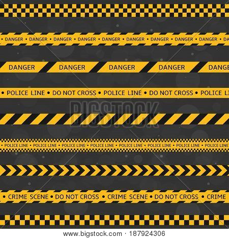 Black and yellow police stripe set. Vector illustration