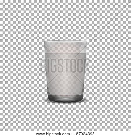 Transpanent Glass of water, vodka or tonic. Vector illustration