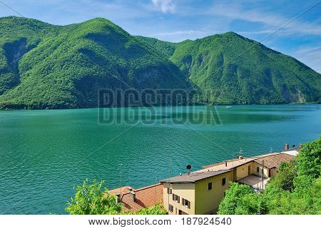 View over Village of Gandria at Lake Lugano,Ticino Canton,Switzerland