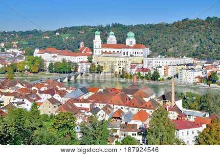 View to Town of Passau in bavarian Forest,lower bavaria,Germany