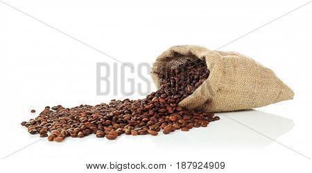 Bag with coffee beans, isolated on white