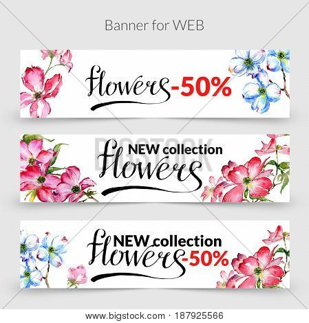 Wildflower dogwood promo sale banner template in a watercolor style isolated. Aquarelle wildflower dogwood promo sale banner template for background, texture, wrapper pattern, frame or border.
