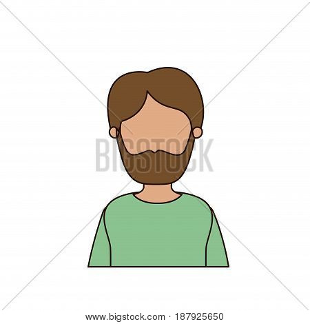 colorful caricature faceless front view half body man bearded vector illustration