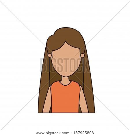 colorful caricature faceless front view half body woman with long straight hair vector illustration