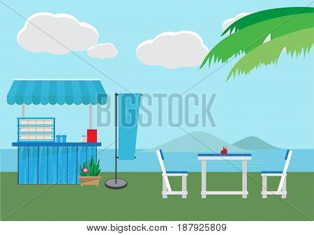 Small shop with sea background, flat style design, vector illustration.