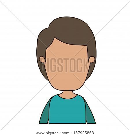 colorful caricature faceless front view half body boy with hairstyle vector illustration