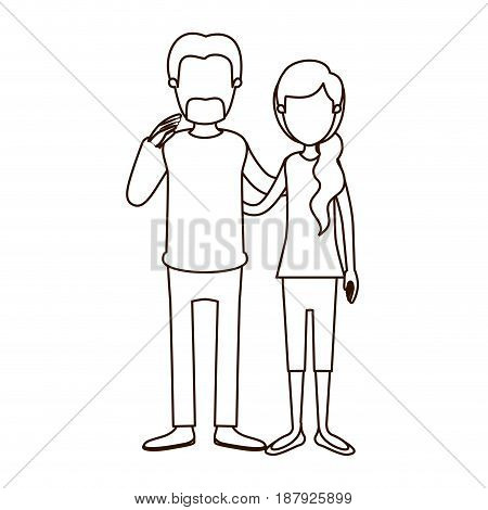 sketch contour full body woman with ponytail side hair and man embracing couple vector illustration