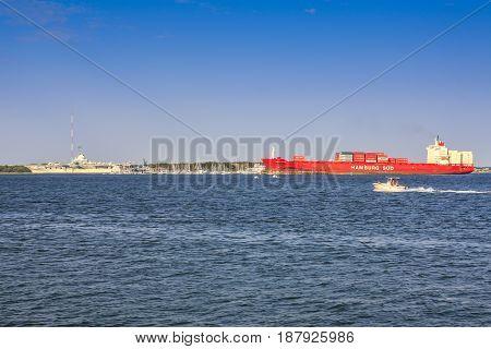Charleston, SC, USA - 09/09/2016: German freighter ship entering the Cooper River at Charleston SC