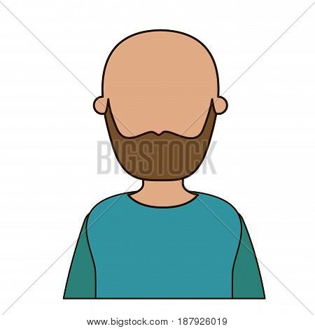 colorful caricature faceless front view half body bald man bearded in t-shirt vector illustration