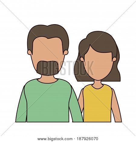 colorful caricature faceless front view half body couple woman with short hair and bearded man vector illustration
