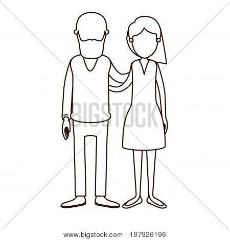 sketch contour full body woman with side short hairstyle and bearded man embracing couple vector illustration