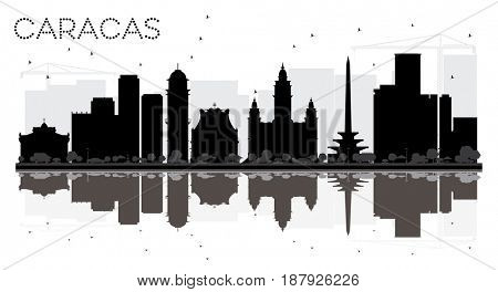 Caracas City skyline black and white silhouette with reflections. Simple flat concept for tourism presentation, banner, placard or web site. Cityscape with landmarks.