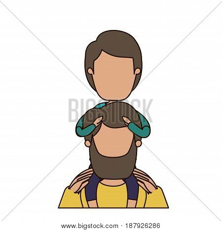 colorful caricature faceless front view half body bearded father with boy on his back vector illustration