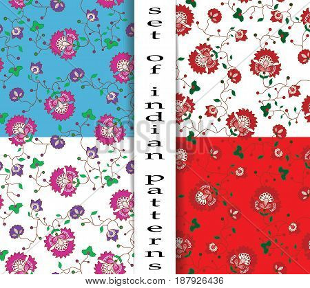 Set of seamless patterns with Indian motifs. Red flowers on a white background and red, purple flowers on a white and blue background.